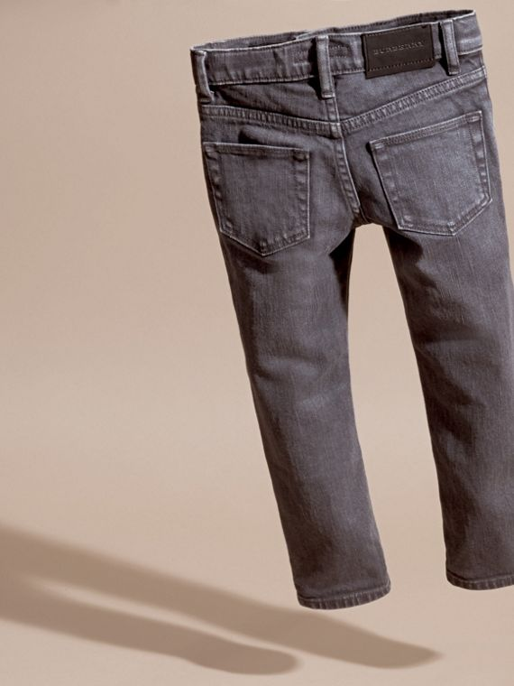 Skinny Fit Stretch Denim Jeans in Charcoal - Boy | Burberry - cell image 3