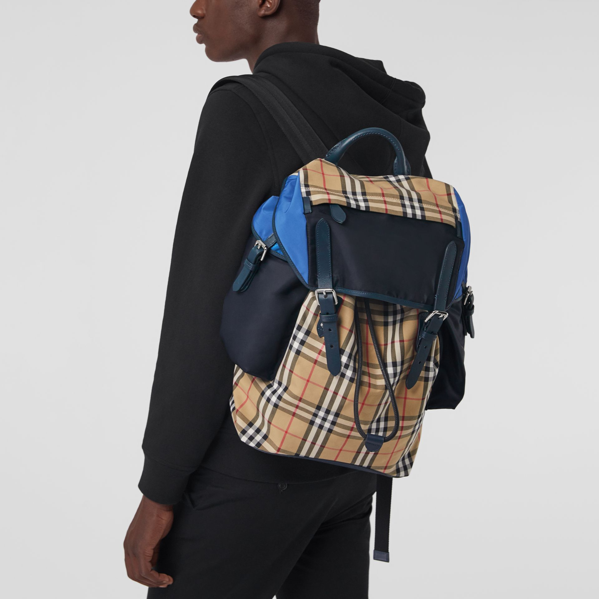 Colour Block Vintage Check and Leather Backpack in Navy - Men | Burberry - gallery image 3