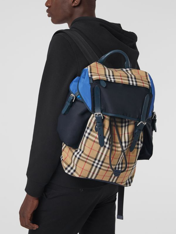 Colour Block Vintage Check and Leather Backpack in Navy - Men | Burberry - cell image 3