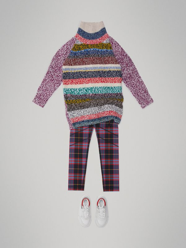 Tartan Stretch Jersey Leggings in Pink Sorbet - Children | Burberry United States - cell image 2