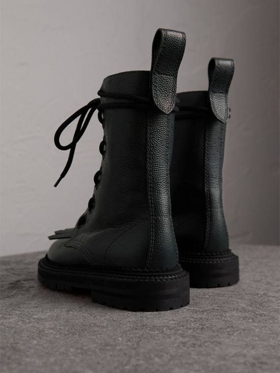 Fringe Detail Grainy Leather Military Boots in Deep Viridian Green - Women | Burberry United States - cell image 3