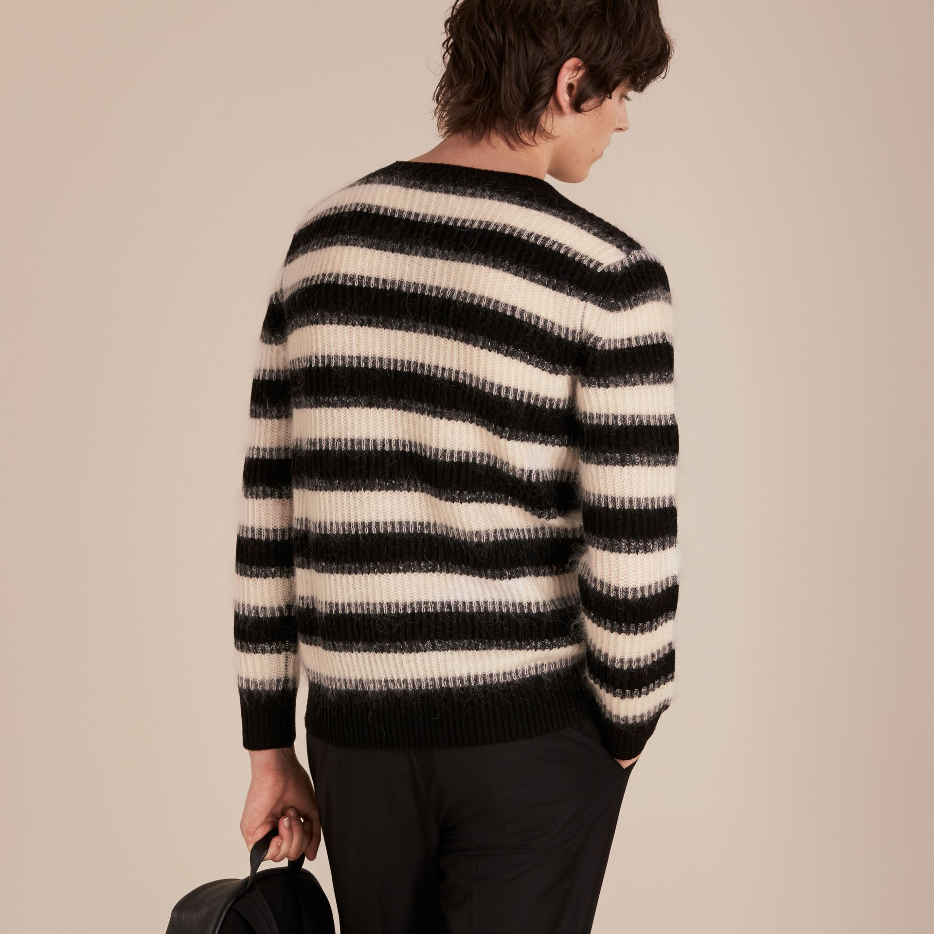 Natural white/black Striped Ribbed Wool Mohair Blend Sweater - gallery image 3