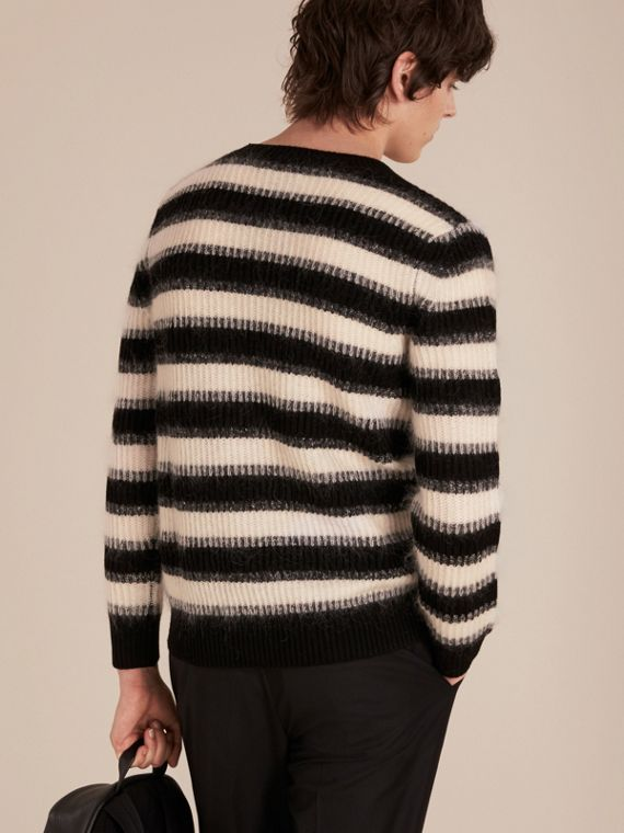Natural white/black Striped Ribbed Wool Mohair Blend Sweater - cell image 2