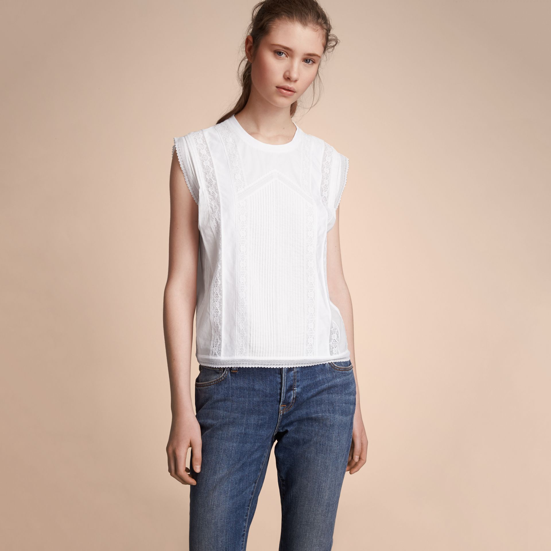 Sleeveless Lace and Pintuck Detail Cotton Top - Women | Burberry - gallery image 6