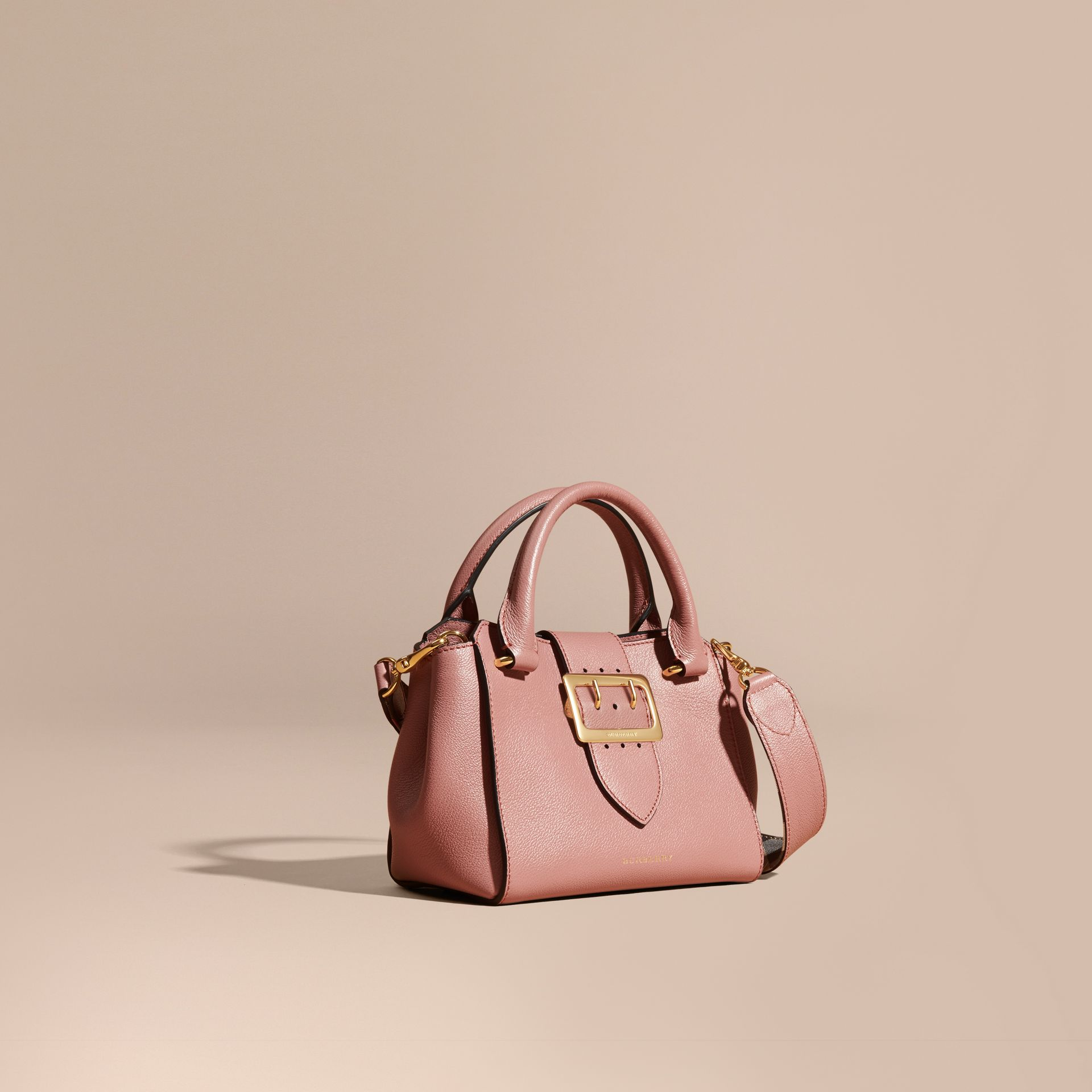 The Small Buckle Tote in Grainy Leather Dusty Pink - gallery image 1