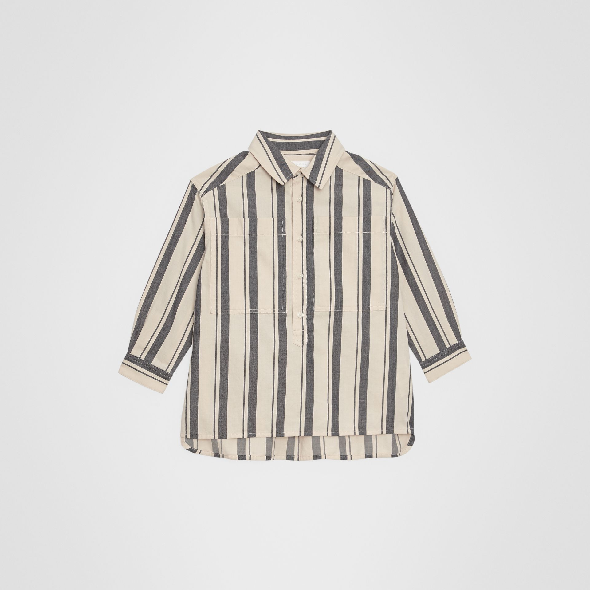 Striped Cotton Wool Shirt in Dark Grey | Burberry Singapore - gallery image 0