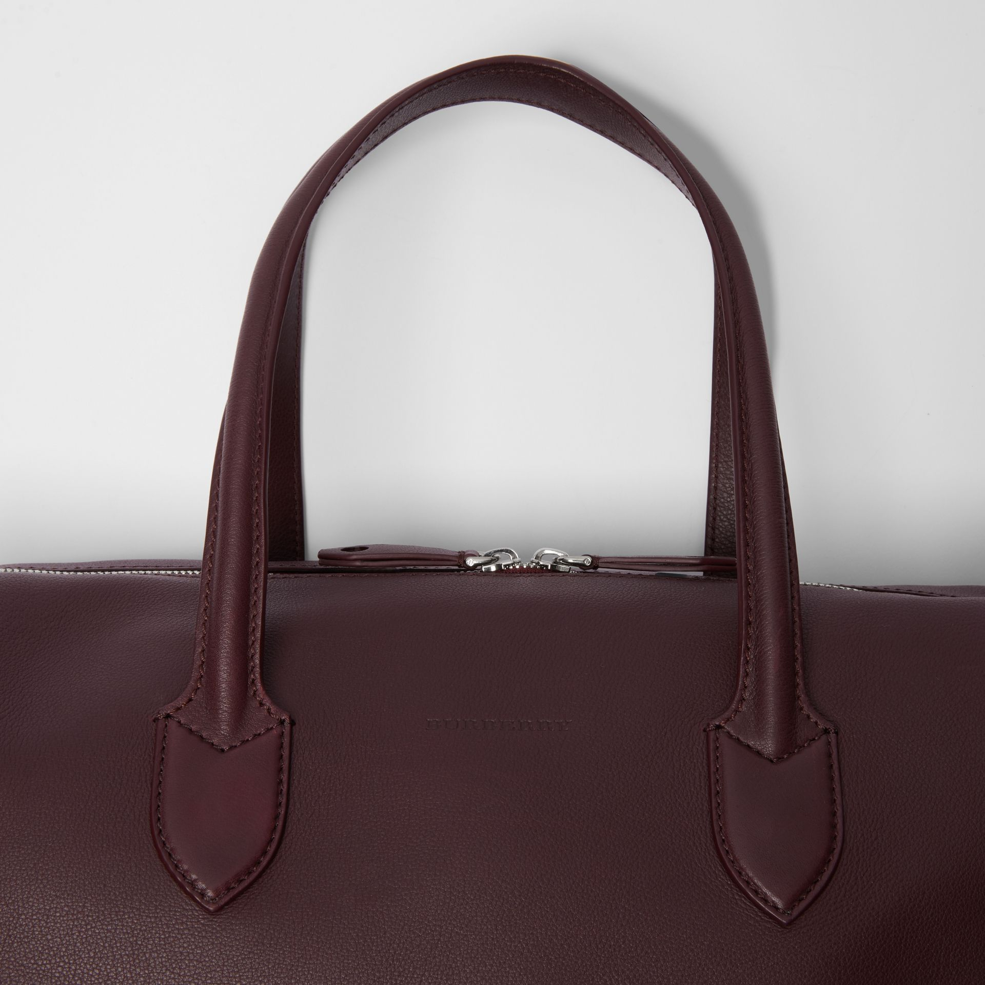 Soft Leather Holdall in Oxblood - Men | Burberry United States - gallery image 1