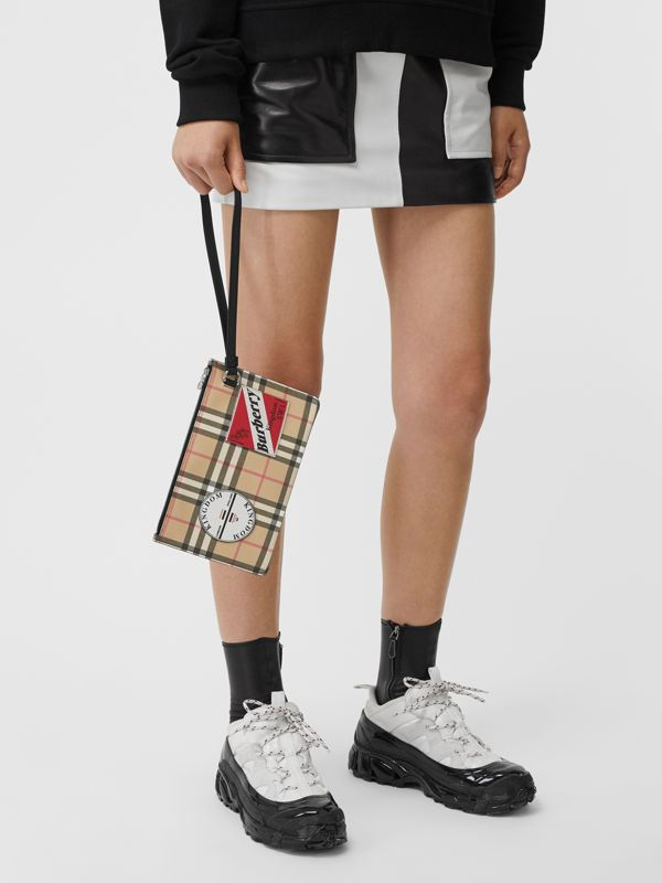 Logo Graphic Vintage Check E-canvas Zip Pouch in Archive Beige | Burberry - cell image 2