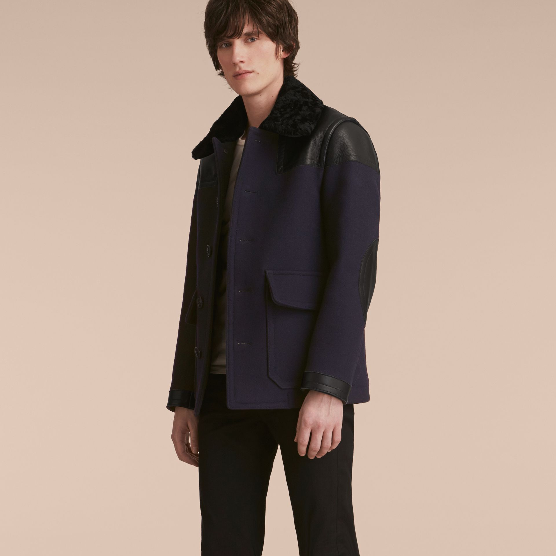 Pea Coat with Detachable Shearling Topcollar - gallery image 7