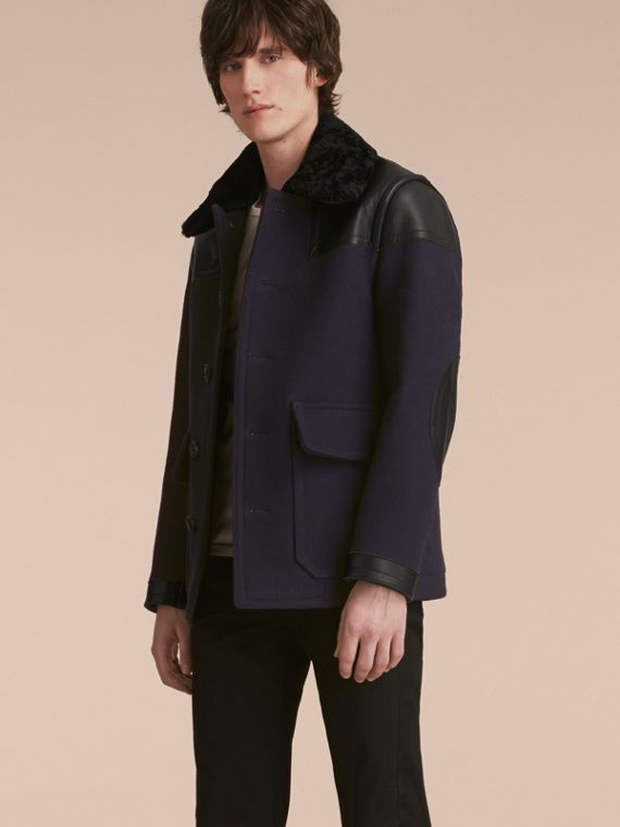 Leather Detail Pea Coat with Detachable Shearling Topcollar