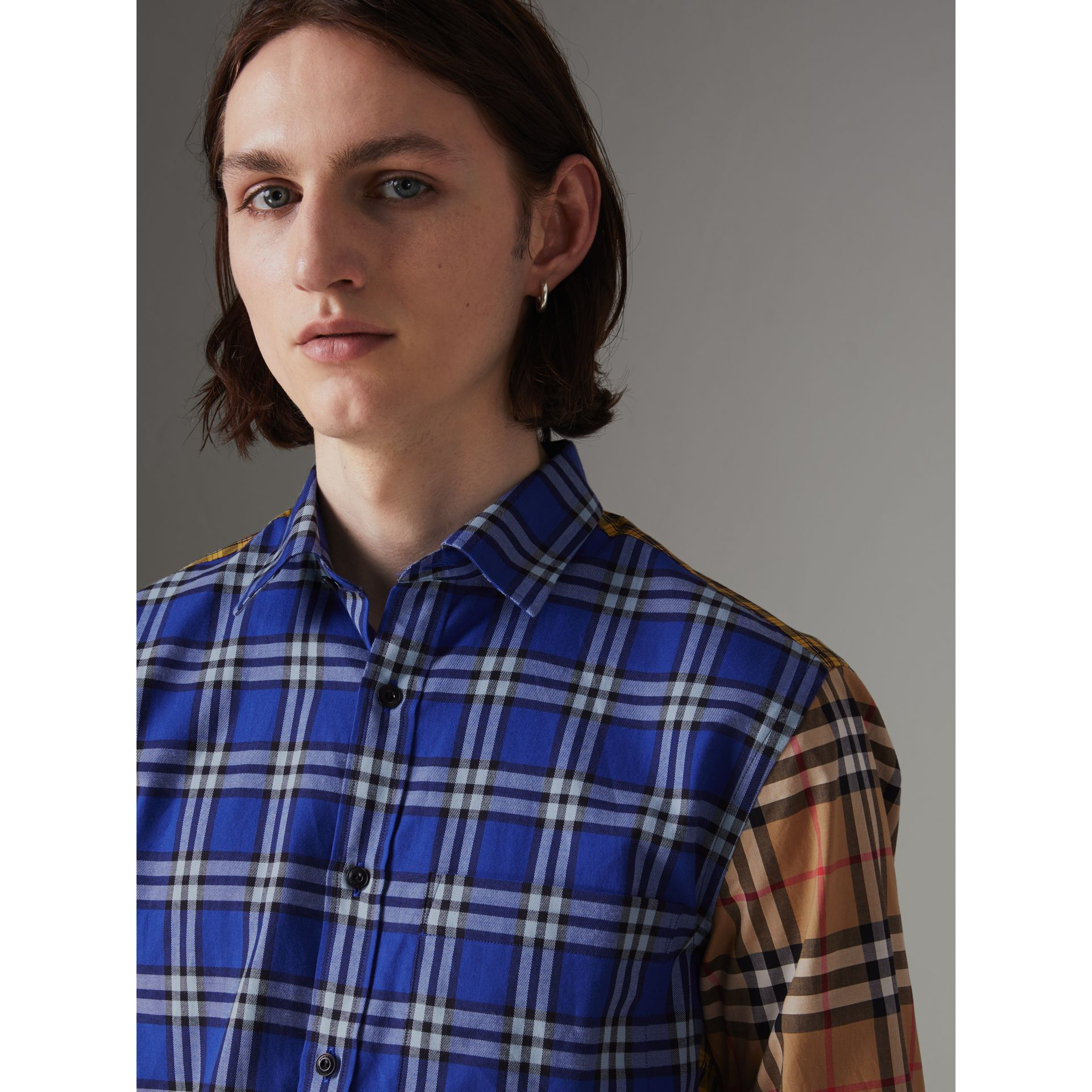 Contrast Check Cotton Shirt in Bright Lapis - Men | Burberry Canada - gallery image 1