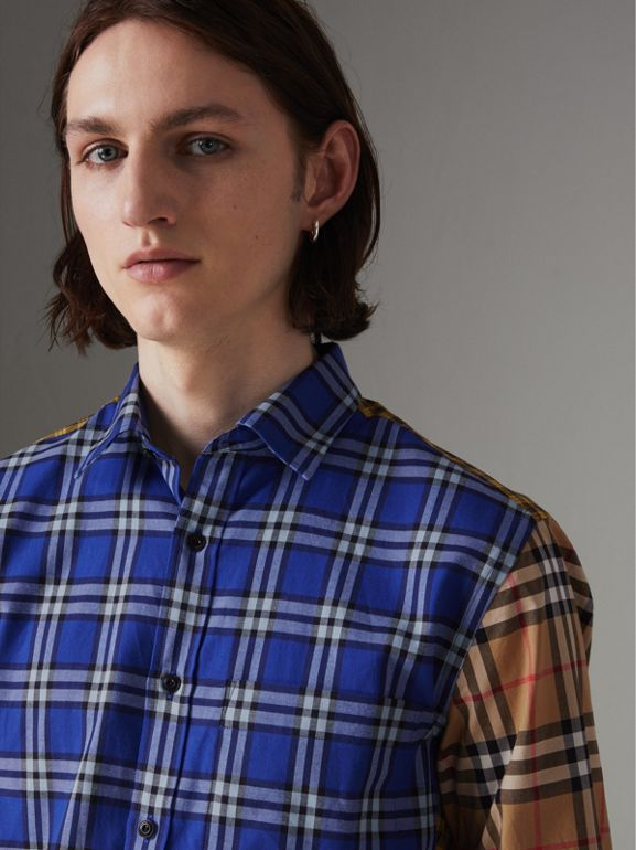 Contrast Check Cotton Shirt in Bright Lapis - Men | Burberry United Kingdom - cell image 1