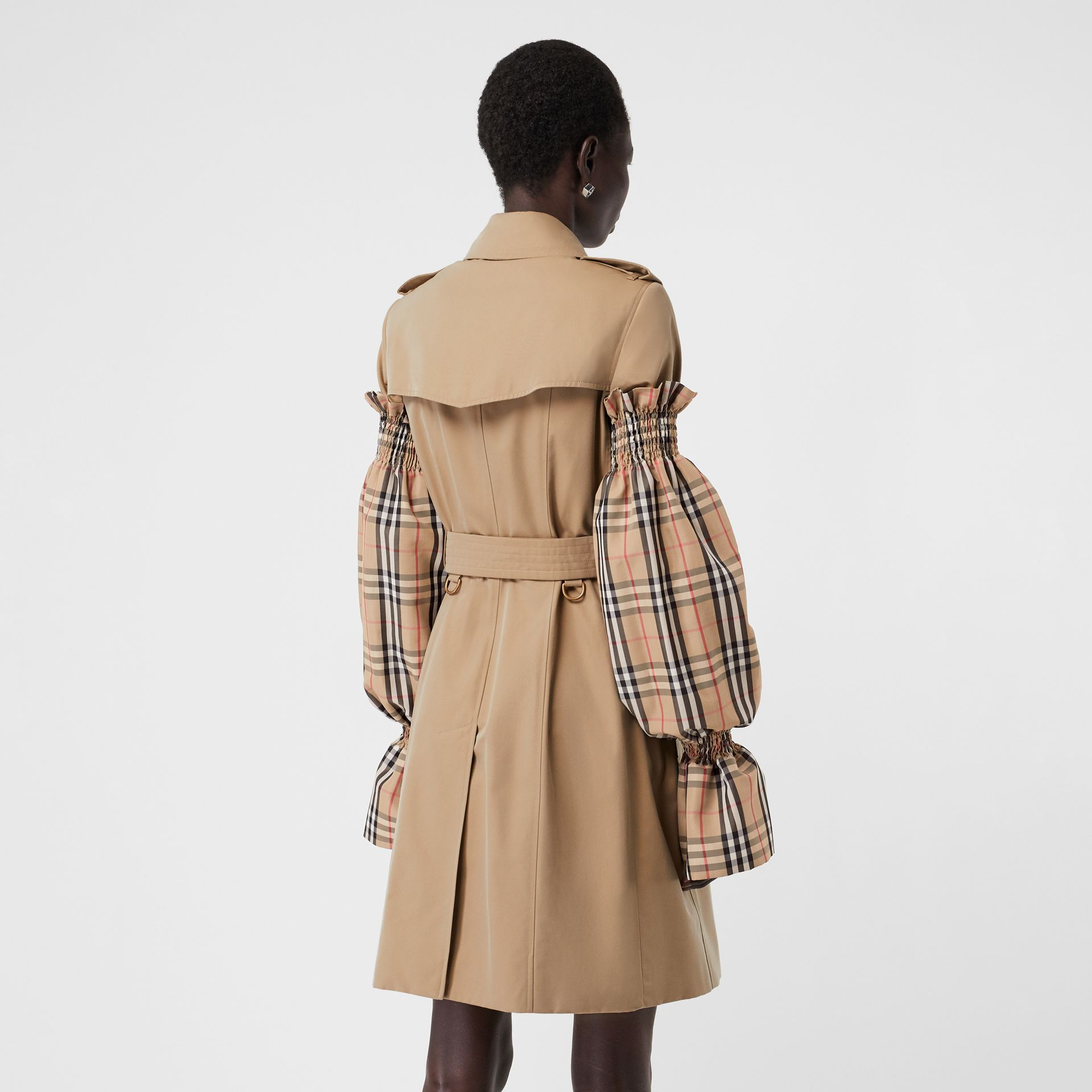 Vintage Check Puff Sleeves in Archive Beige - Women | Burberry Australia - gallery image 2