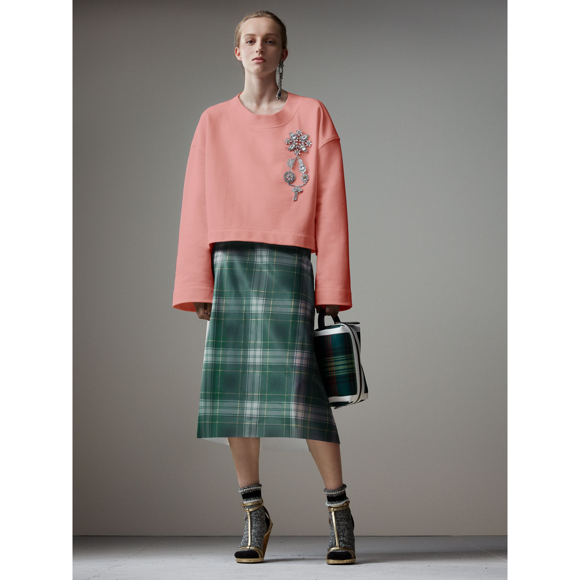 Cropped Sweatshirt with Crystal Brooch in Vintage Rose - Women | Burberry - gallery image 1