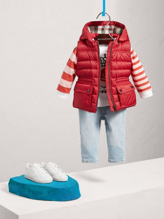 Detachable Hood Down-filled Gilet in Bright Cherry Red | Burberry Australia - cell image 2