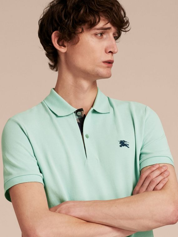 Printed Check Placket Cotton Piqué Polo Shirt Light Green Opal