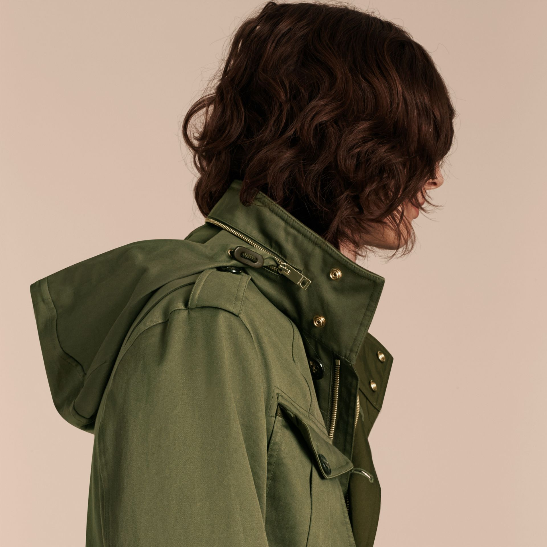 Olive Hooded Cotton Field Jacket - gallery image 6