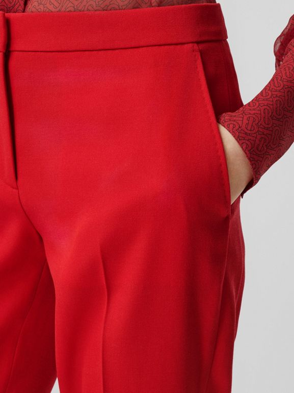 Wool Tailored Trousers in Bright Red - Women | Burberry United Kingdom - cell image 1