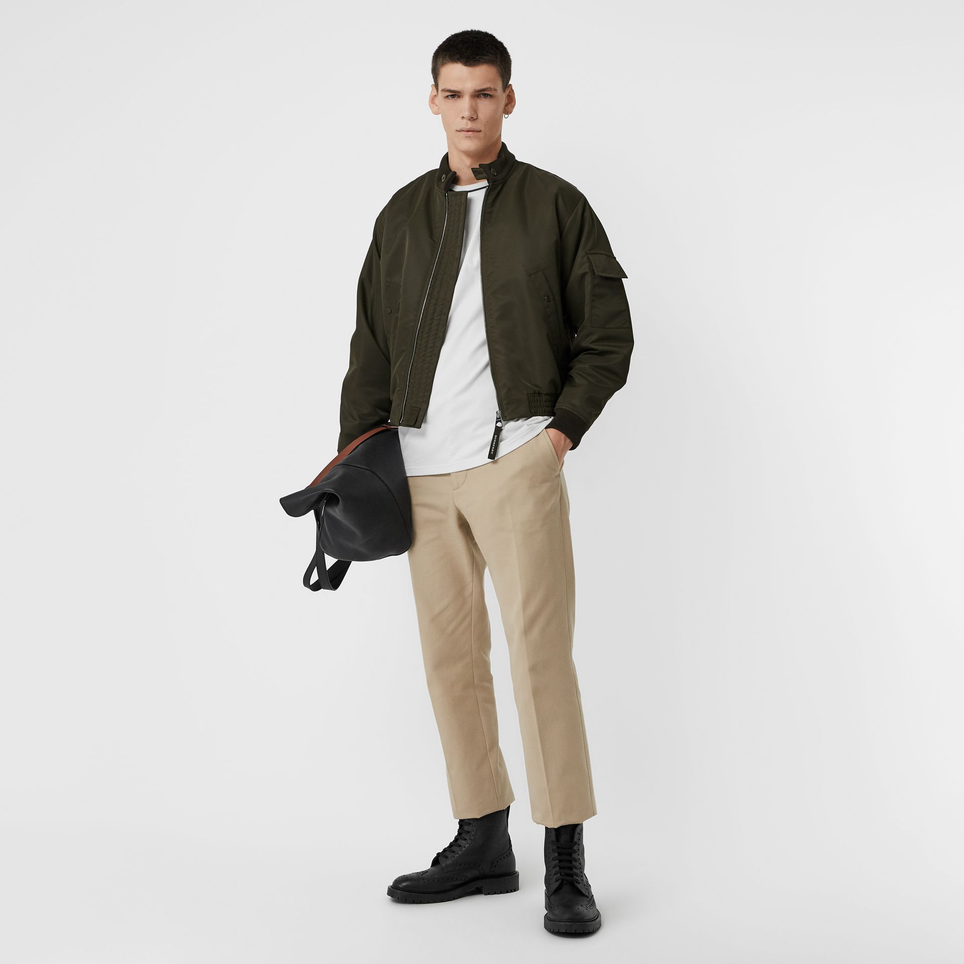 Padded Nylon Bomber Jacket in Dark Olive - Men | Burberry - gallery image 0