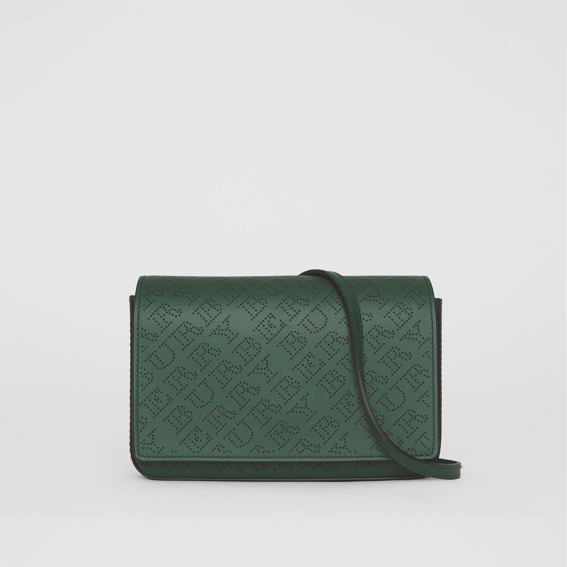 Perforated Logo Leather Wallet with Detachable Strap in Vintage Green - Women | Burberry - gallery image 0