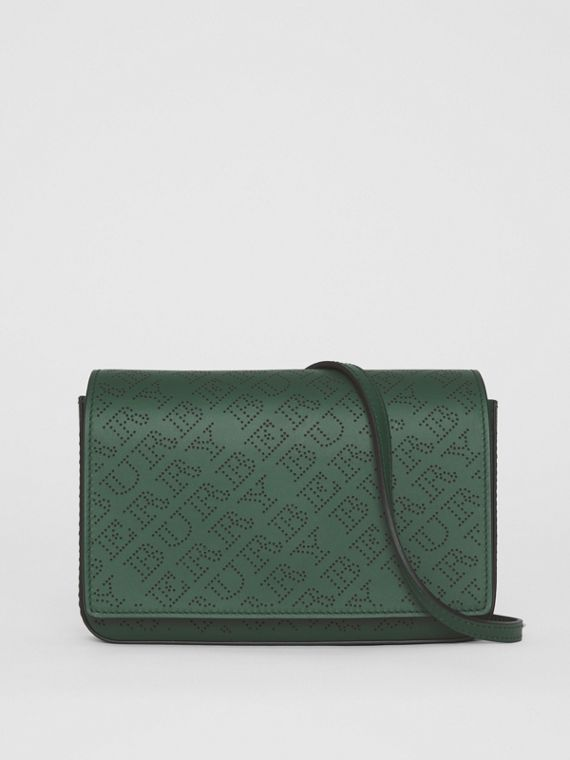 Perforated Logo Leather Wallet with Detachable Strap in Vintage Green