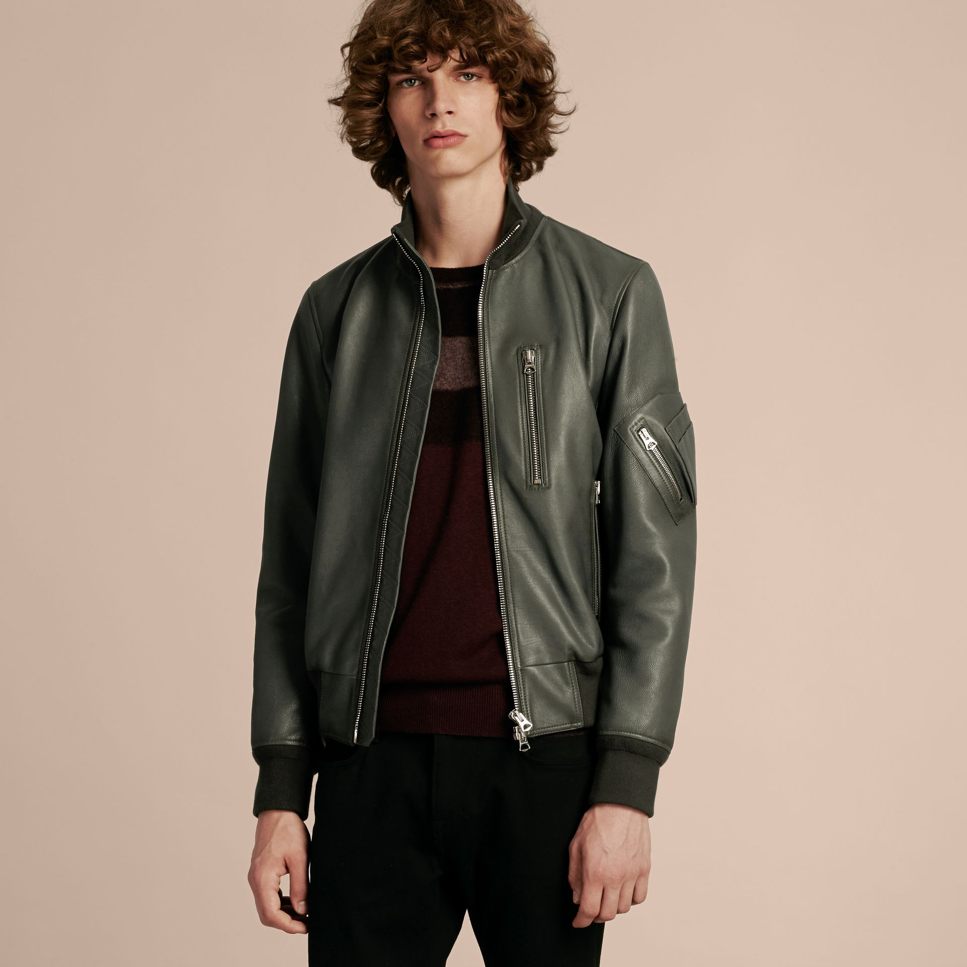 Dark steel Leather Bomber Jacket with Stand Collar - gallery image 5