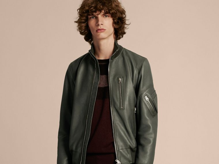 Dark steel Leather Bomber Jacket with Stand Collar - cell image 4