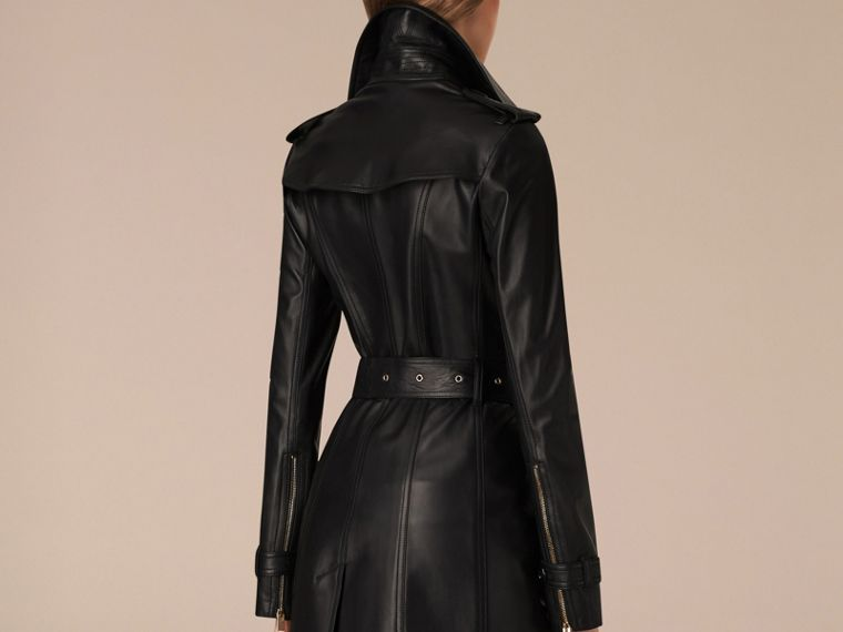 Black Lambskin Trench Coat - cell image 2