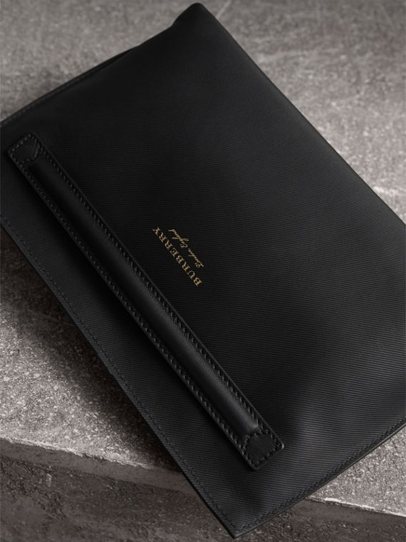 Trench Leather Wristlet Pouch in Black - Women | Burberry - cell image 3