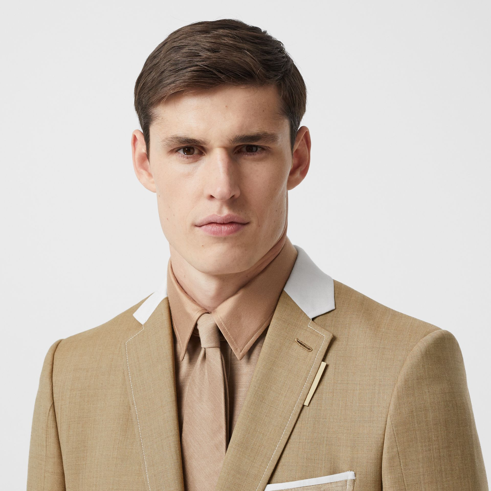 English Fit Wool Cashmere and Linen Tailored Jacket in Pecan Melange | Burberry - gallery image 1