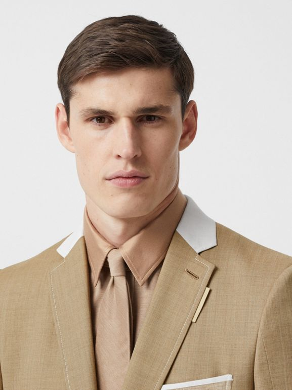 English Fit Wool Cashmere and Linen Tailored Jacket in Pecan Melange | Burberry - cell image 1
