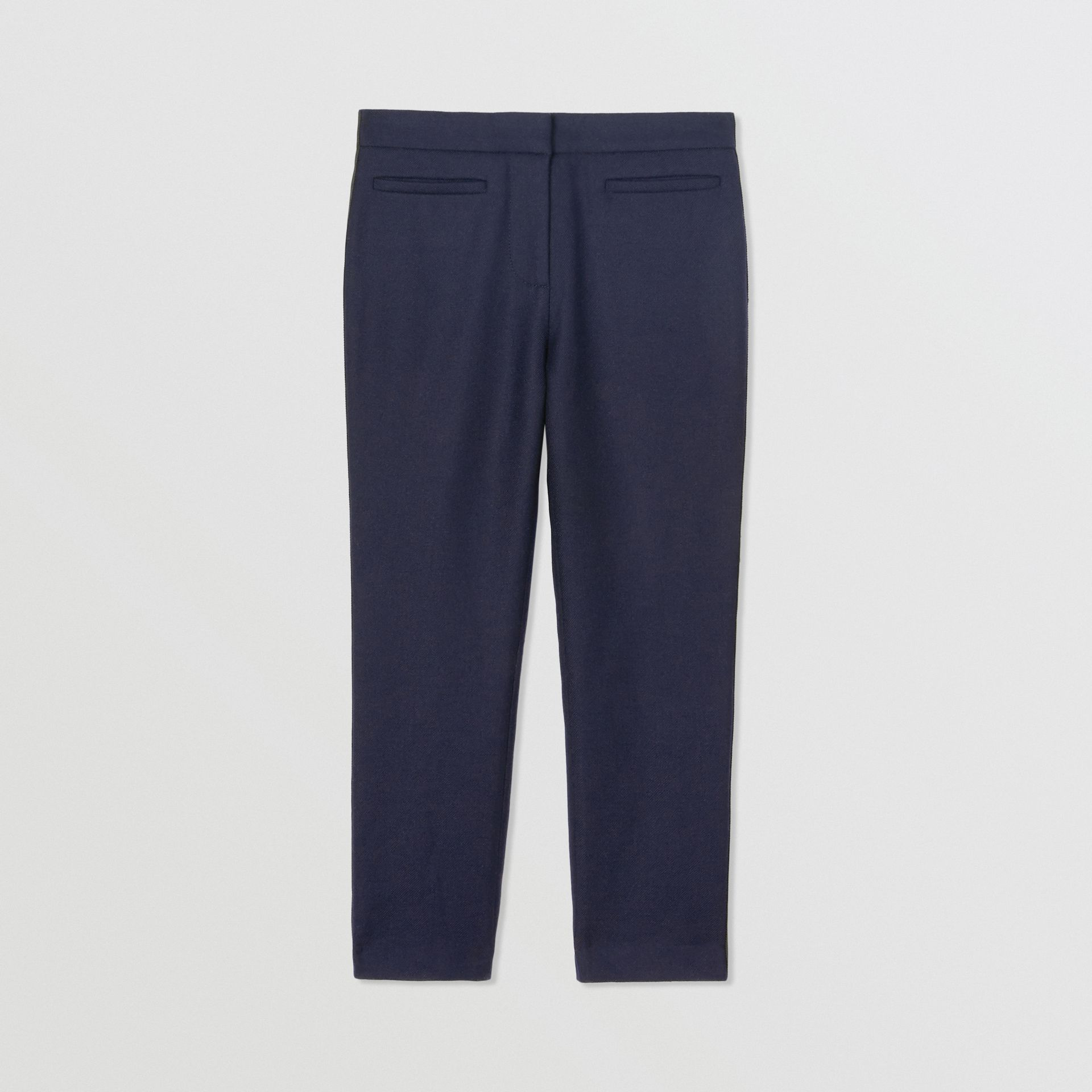 Stripe Detail Wool Twill Tailored Trousers in Navy - Girl | Burberry United States - gallery image 3