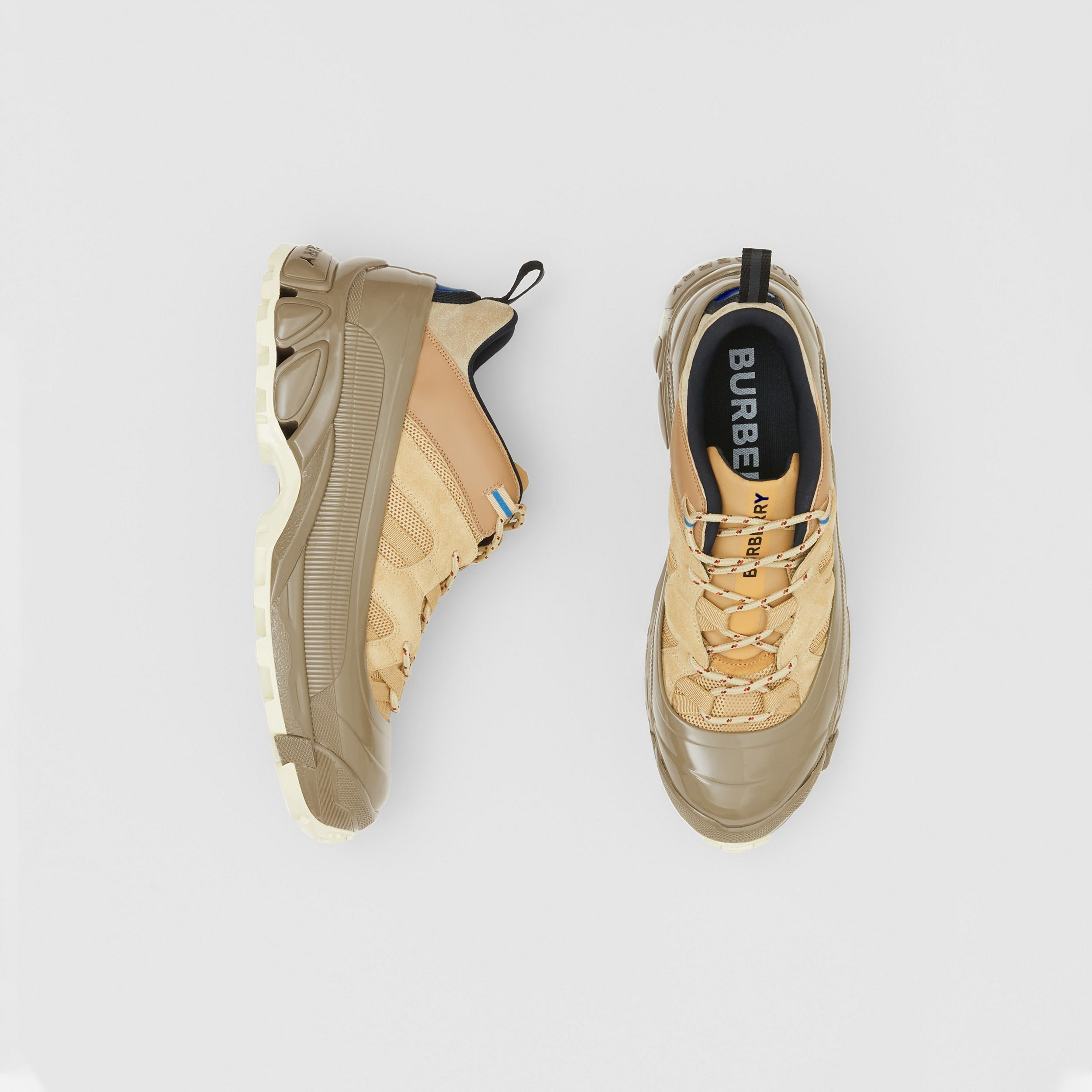 Suede, Mesh and Leather Arthur Sneakers in Beige | Burberry - 1