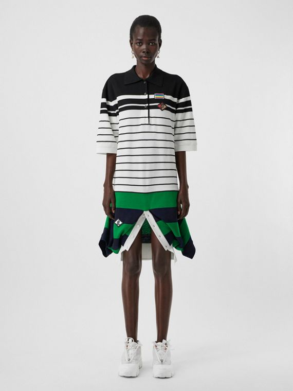 標誌圖案羊毛創意剪裁 Polo 衫式洋裝 (自然白)