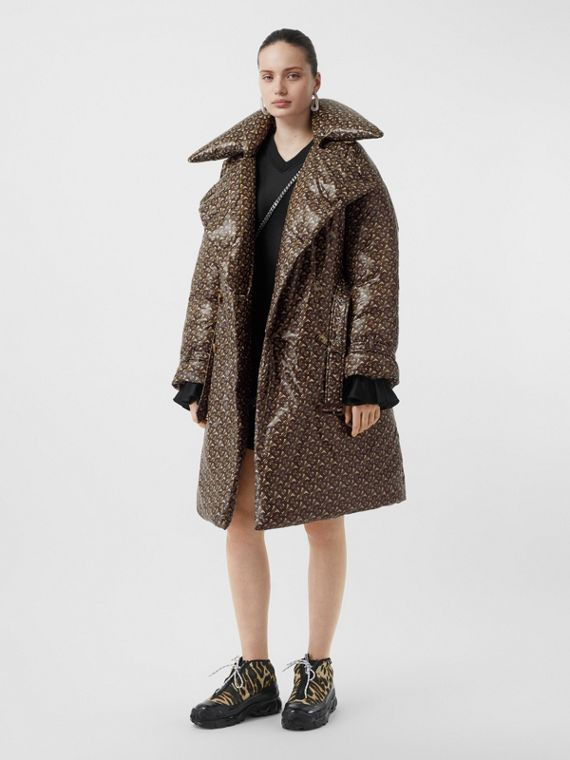 Monogram Print Nylon Down-filled Trench Coat in Bridle Brown