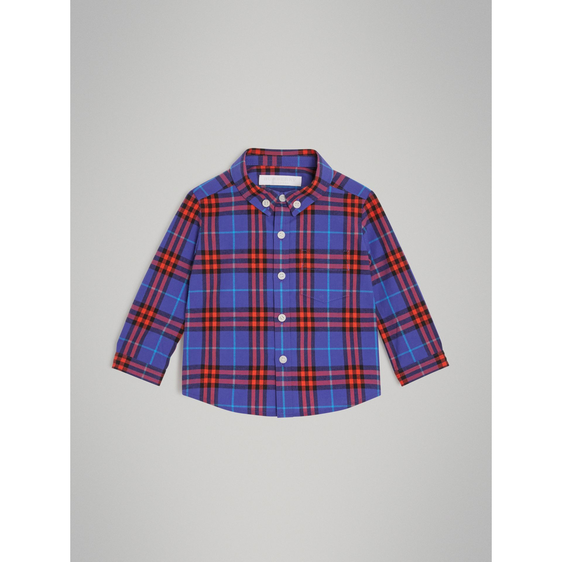 Button-down Collar Check Cotton Shirt in Sapphire Blue - Children | Burberry - gallery image 0