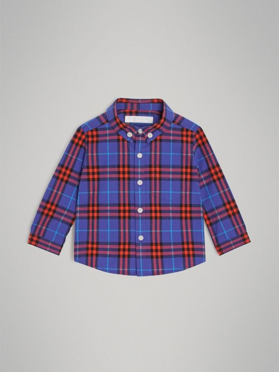 Button-down Collar Check Cotton Shirt in Sapphire Blue