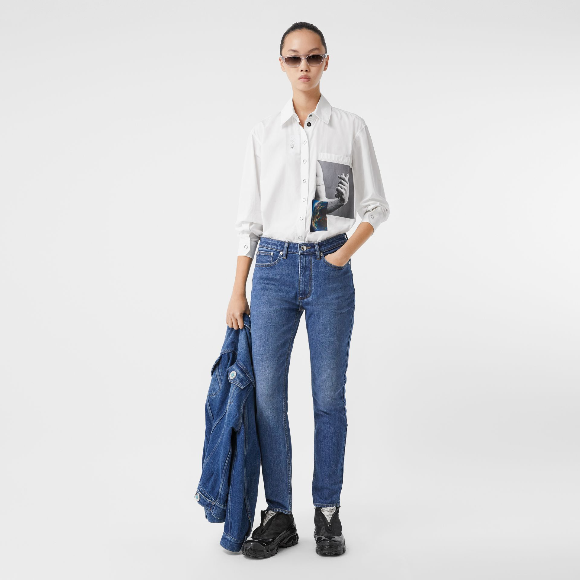Straight Fit Japanese Stretch Denim Jeans in Indigo - Women | Burberry - gallery image 0