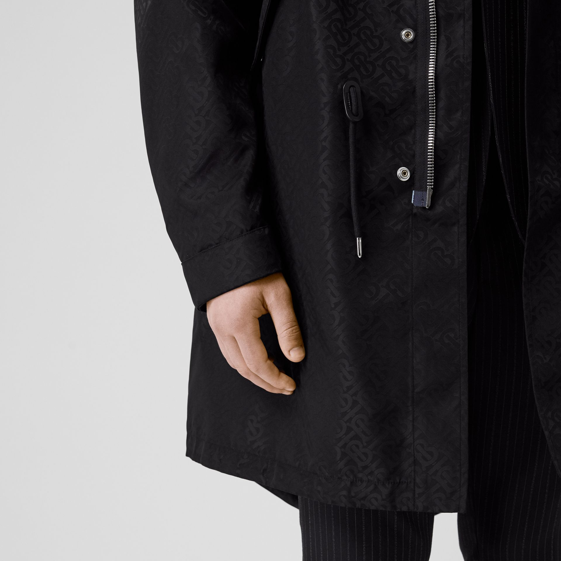 Detachable Hood Monogram ECONYL® Jacquard Parka in Black - Men | Burberry - gallery image 3
