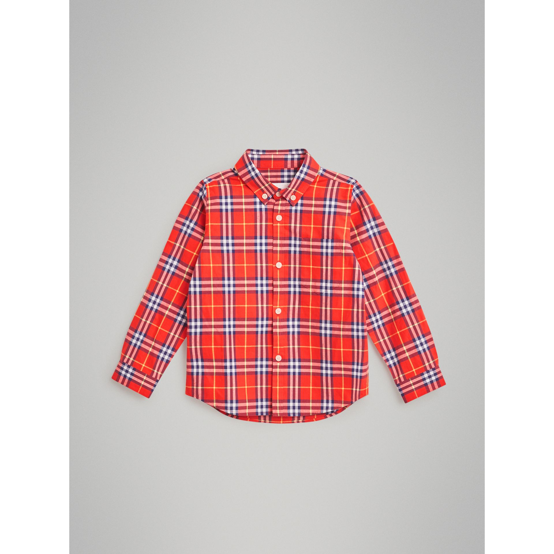Button-down Collar Check Flannel Shirt in Orange Red | Burberry United Kingdom - gallery image 0