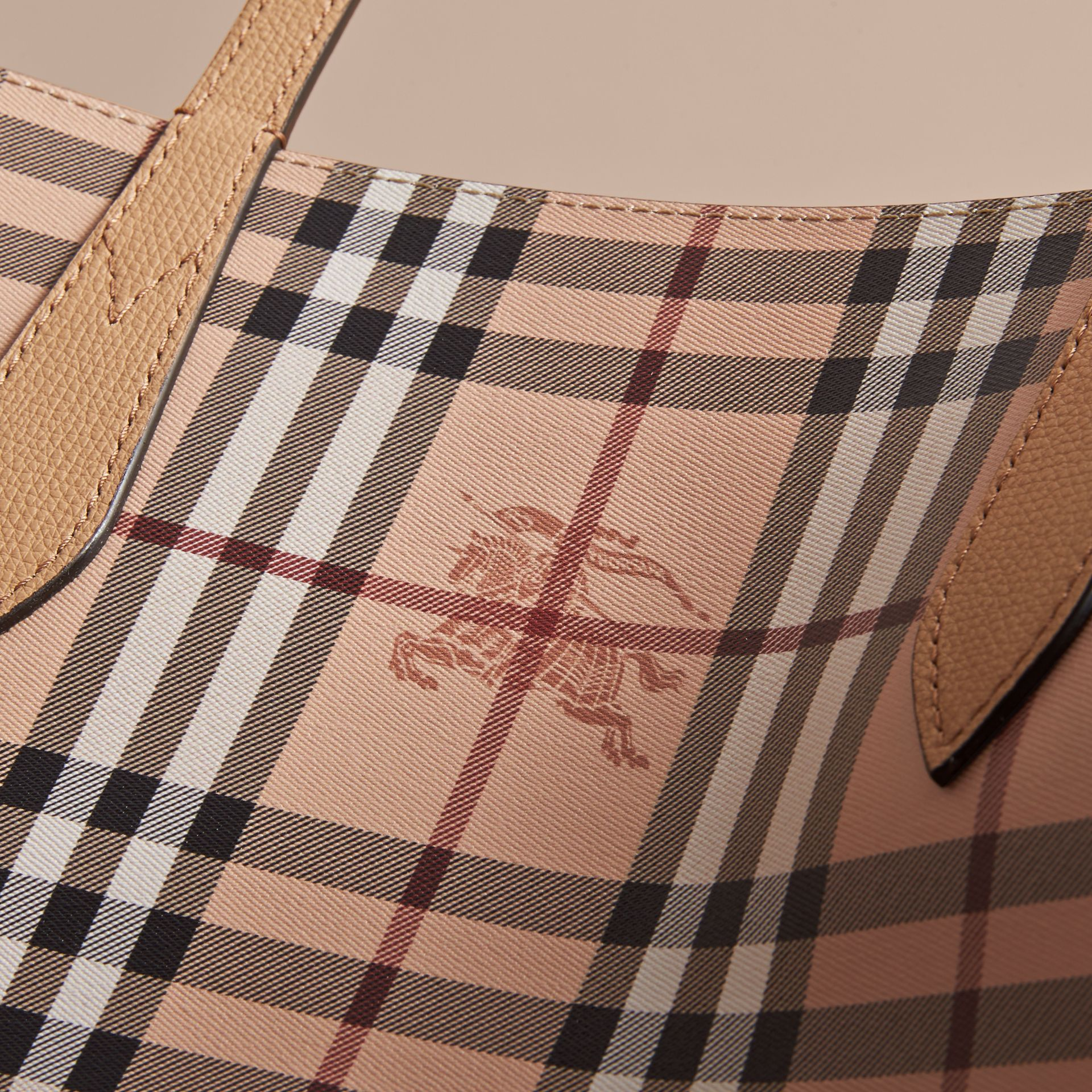 The Medium Reversible Tote in Haymarket Check and Leather in Mid Camel - Women | Burberry Singapore - gallery image 6