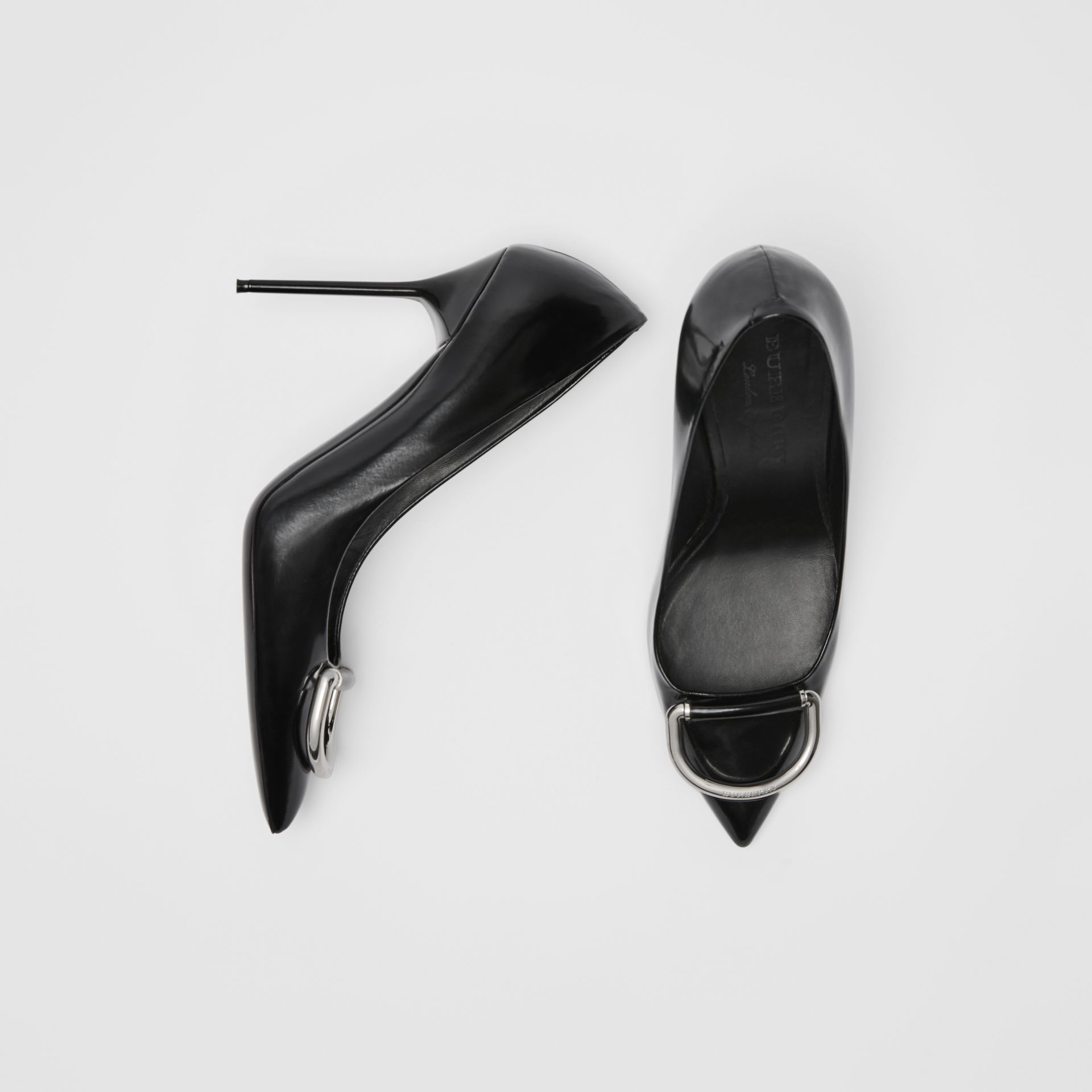 The Patent Leather D-ring Stiletto in Black/nickel - Women | Burberry United Kingdom - gallery image 0