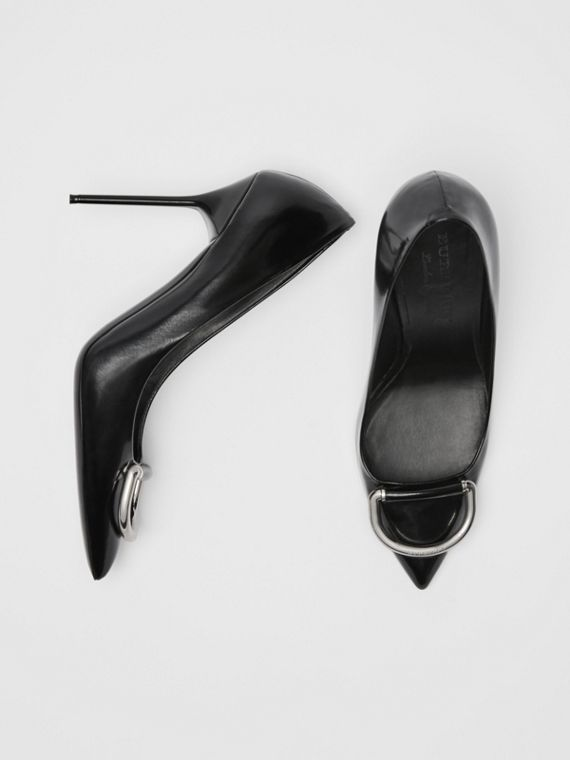 The Patent Leather D-ring Stiletto in Black/nickel
