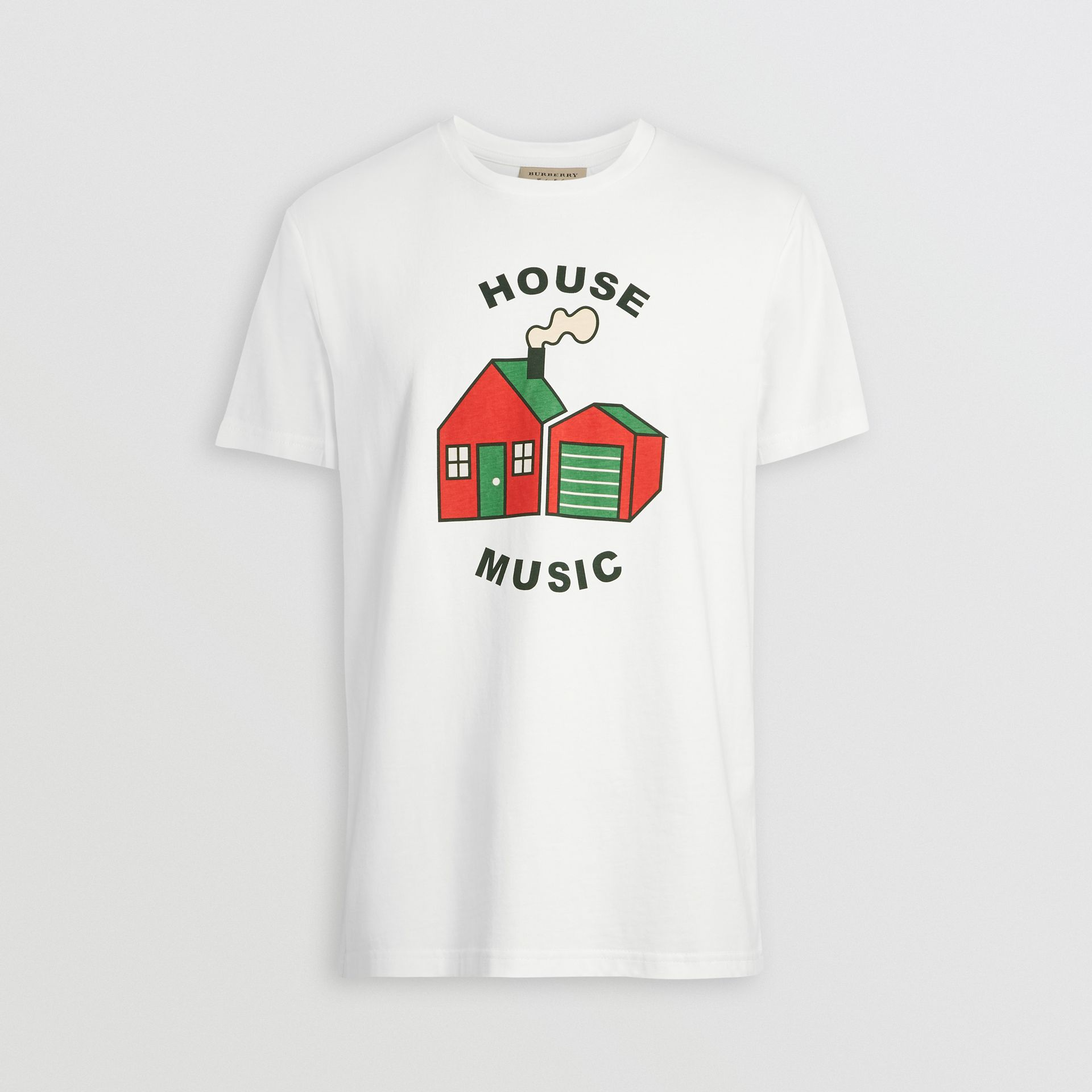 House Music Print Cotton T-shirt in White - Men | Burberry - gallery image 3