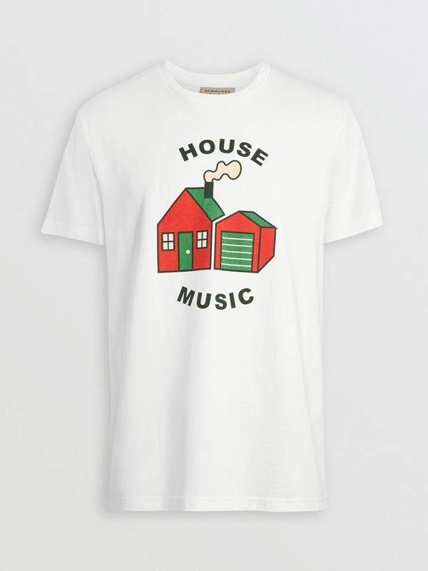 House Music Print Cotton T-shirt in White - Men | Burberry - cell image 3
