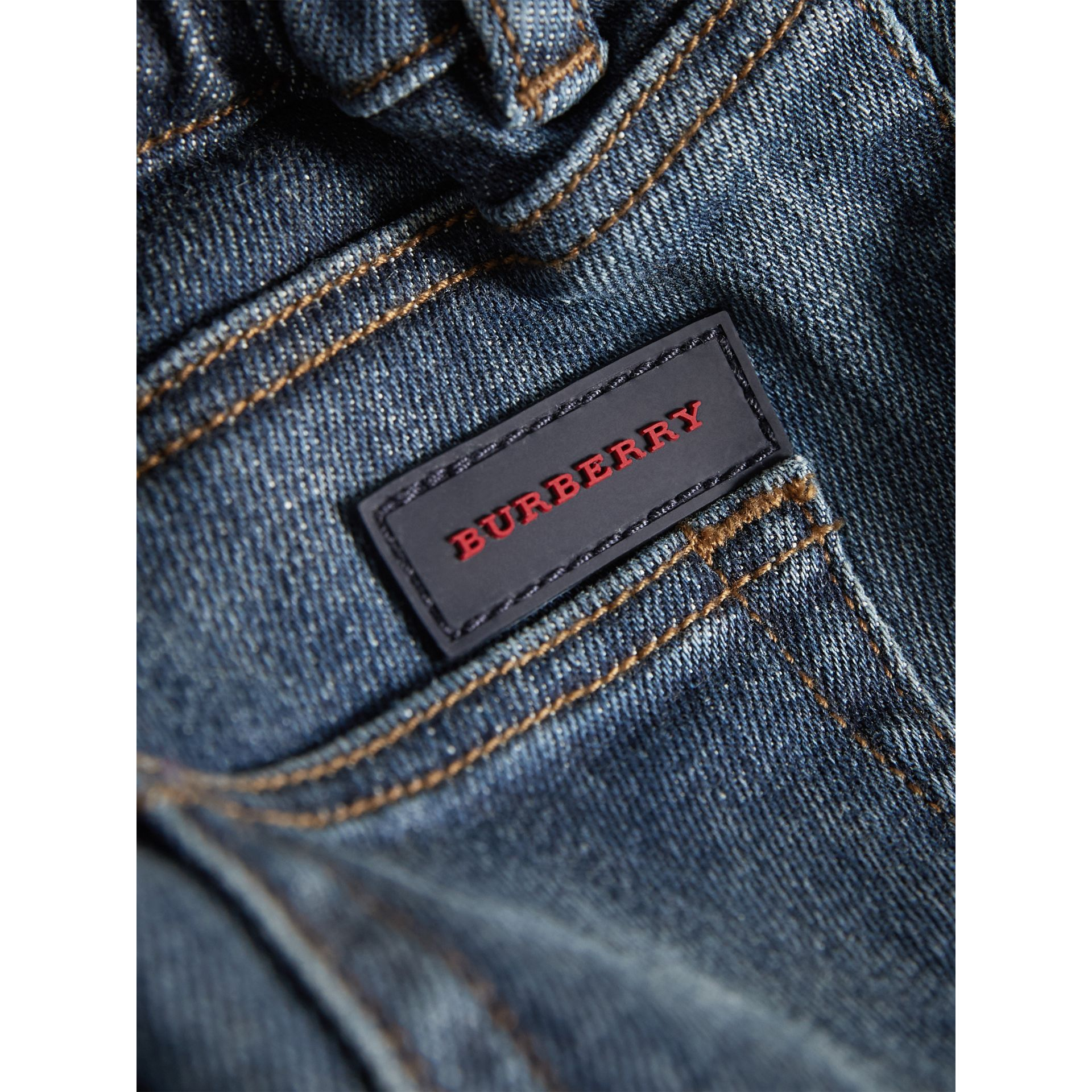 Relaxed Fit Indigo Jeans in Mid | Burberry Singapore - gallery image 1
