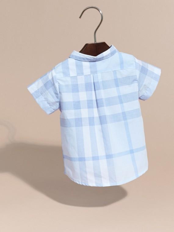 Bleu glacé Chemise en coton à manches courtes avec motif check - cell image 3