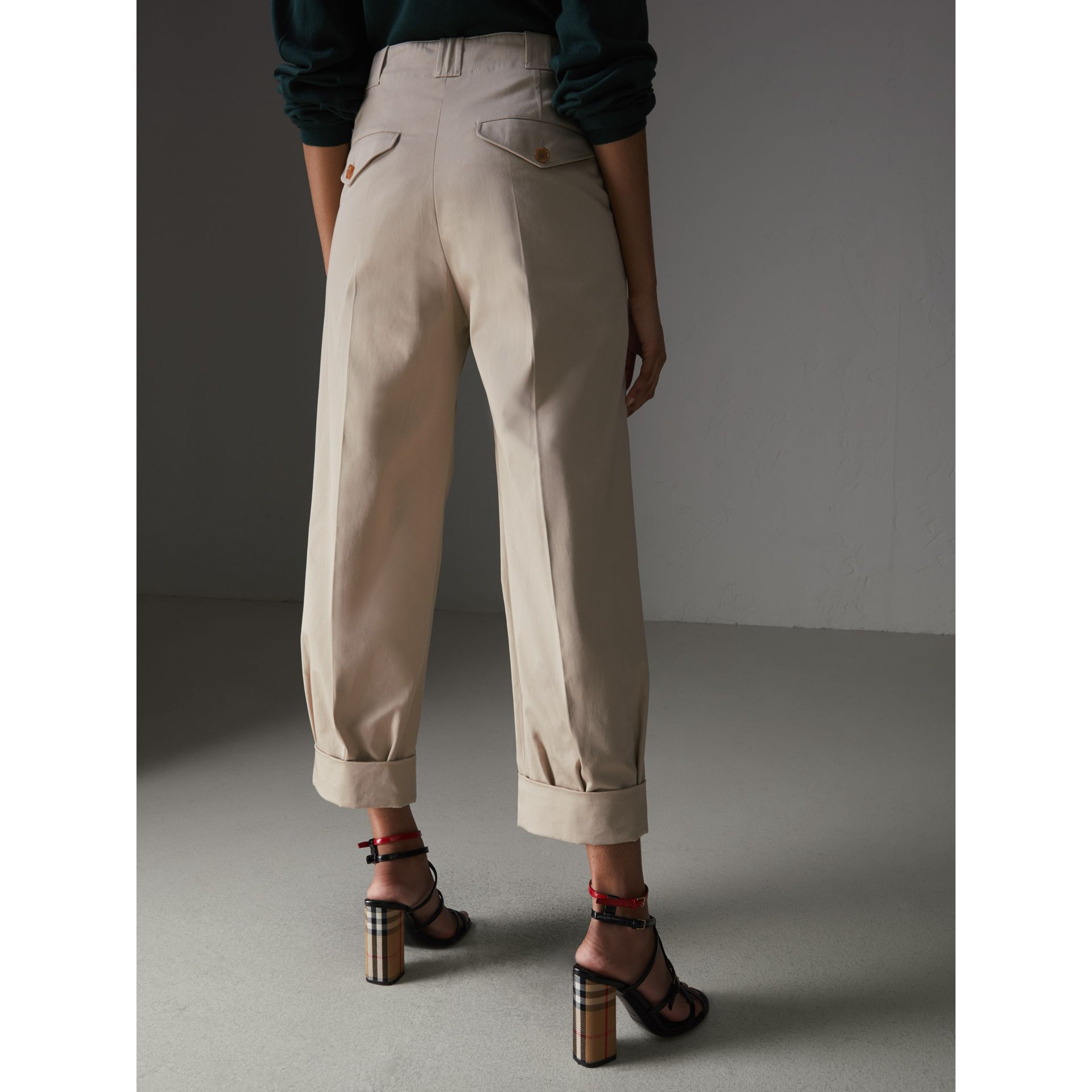 Stretch Cotton Cropped Trousers in Stone - Women | Burberry - gallery image 2