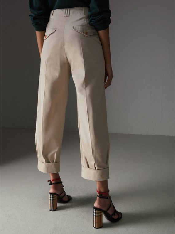 Stretch Cotton Cropped Trousers in Stone - Women | Burberry - cell image 2