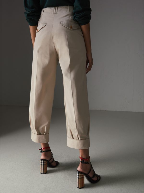 Stretch Cotton Cropped Trousers in Stone - Women | Burberry United Kingdom - cell image 2